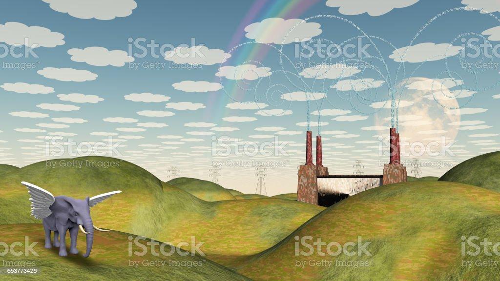 Fantasy Landscape with Winged Elephant stock photo