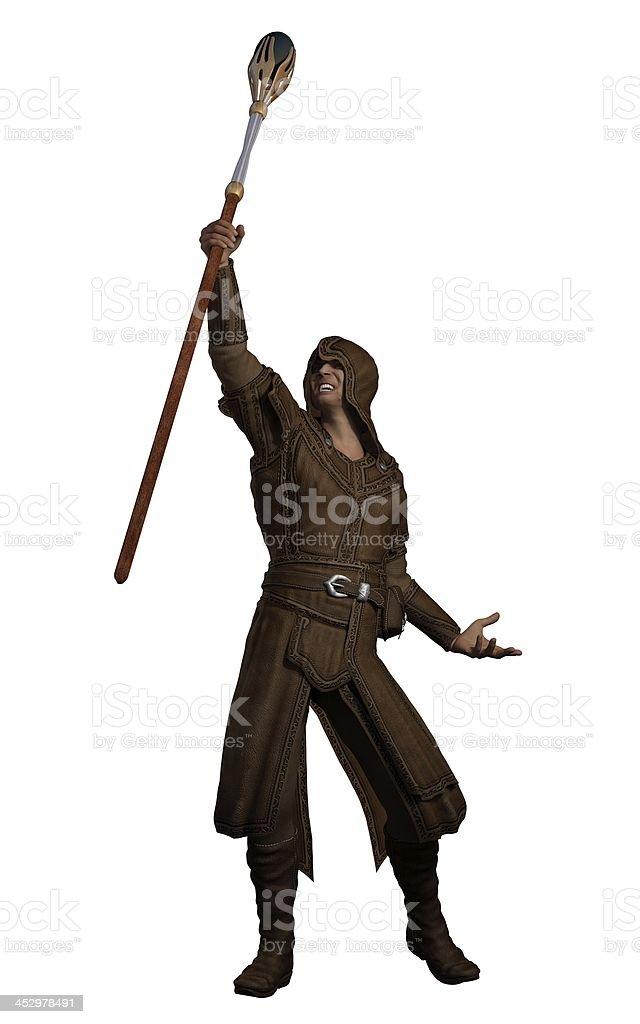 Fantasy Magician with Magic Summoning Staff stock photo