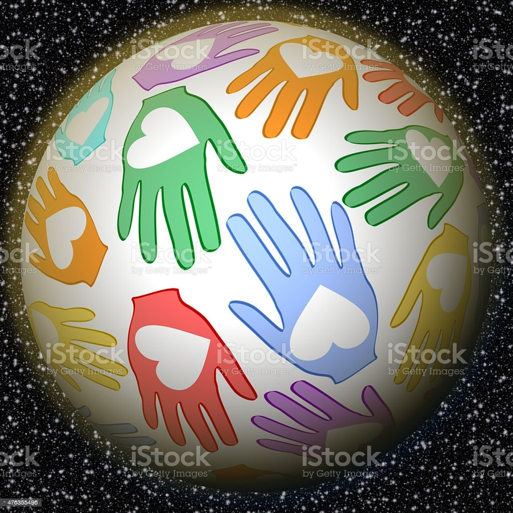 Fantasy planet of peace with palms and hearts stock photo