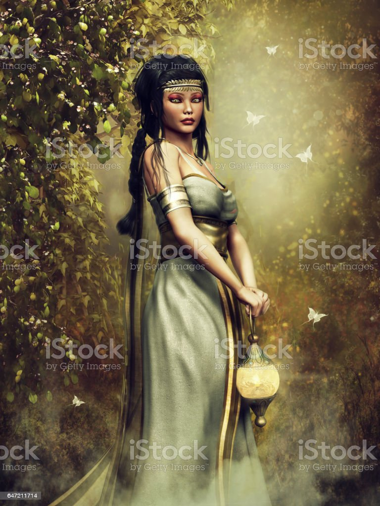 Fantasy priestess with a lamp vector art illustration
