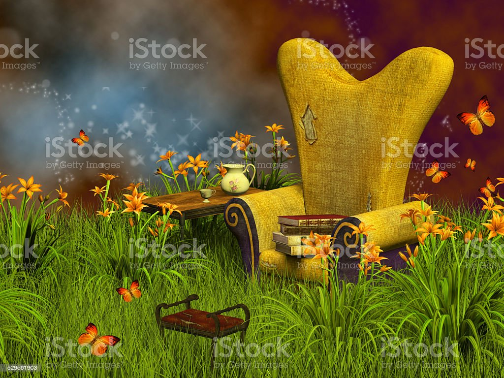 fantasy reading place stock photo
