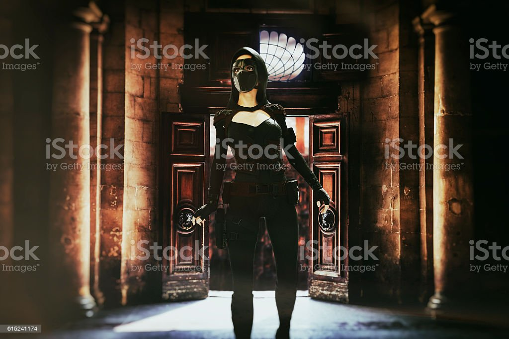 Fantasy shadow thief stock photo