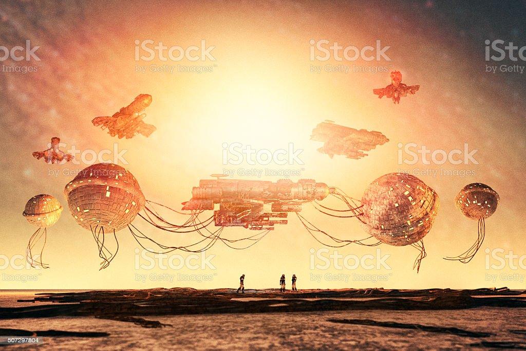 Fantasy steampunk spaceship in repair dock stock photo