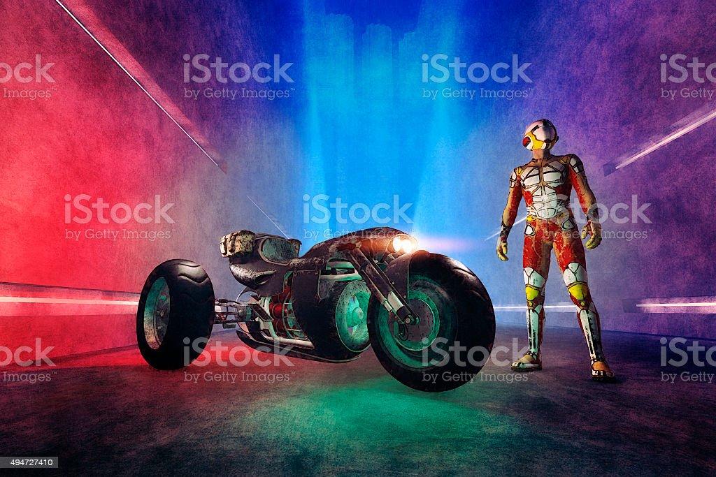 Fantasy super hero with futuristic motorbike stock photo