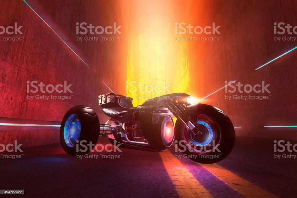 Fantasy superbike in the dark futuristic street stock photo