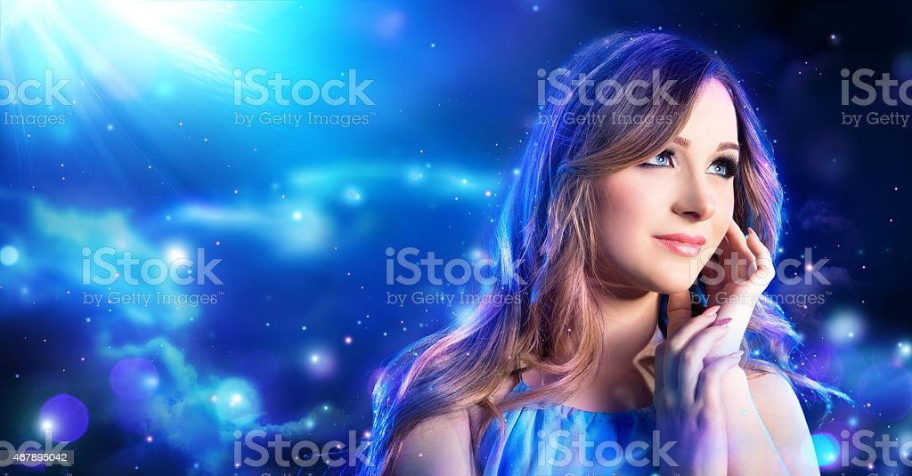 fantasy woman in fairy night in the moonlight stock photo