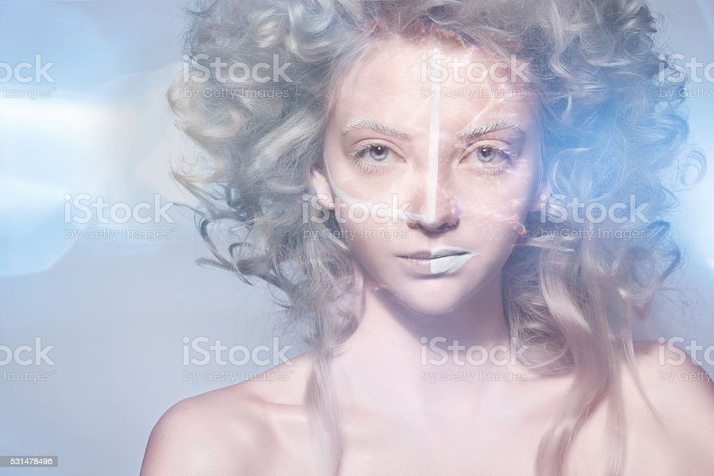 fantasy woman with curly hair stock photo