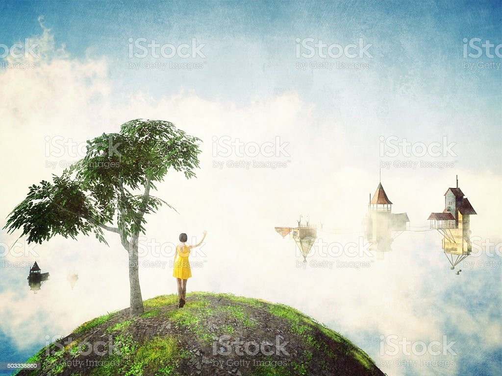 Fantasy world in the clouds stock photo