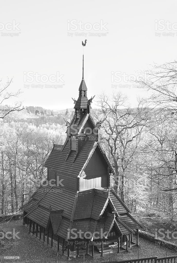 Fantoft Stave Church (medieval wooden church) in Bergen, Norway royalty-free stock photo