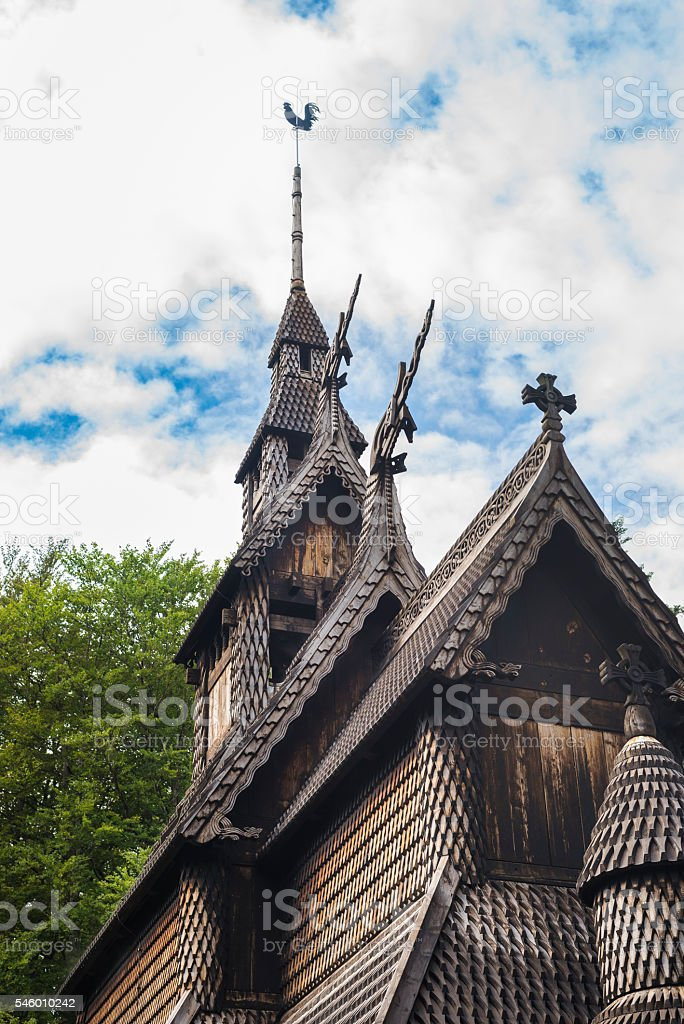 Fantoft Stave Church in Bergen, Norway with blue summer sky stock photo