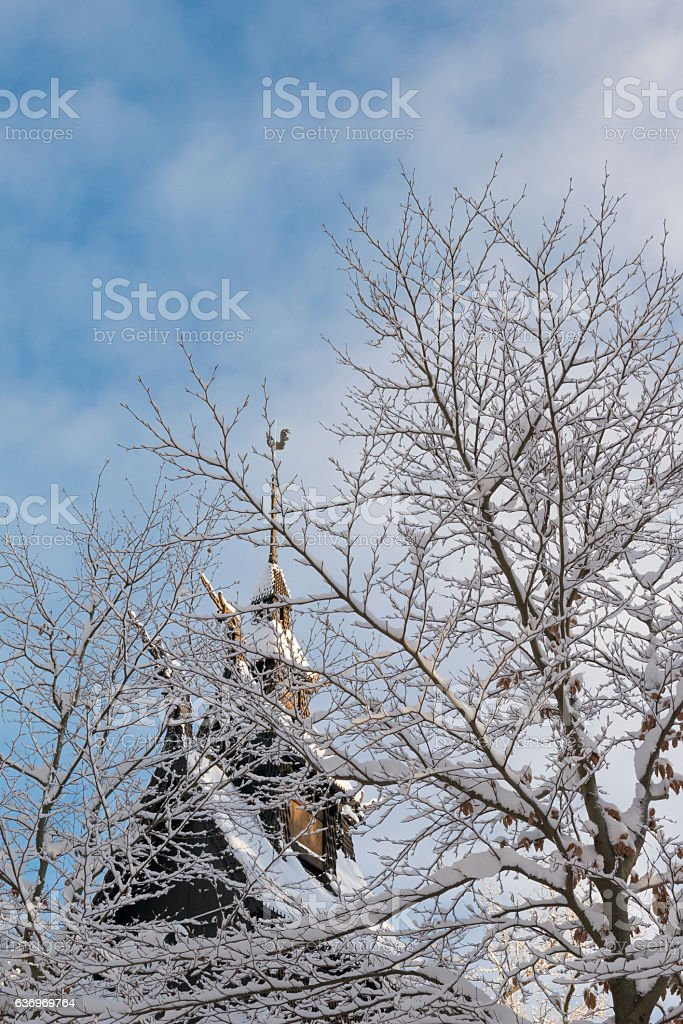 Fantoft Stave Church in winter after snowfall stock photo