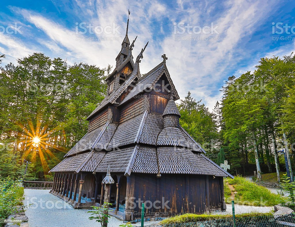 Fantoft Stave Church. stock photo