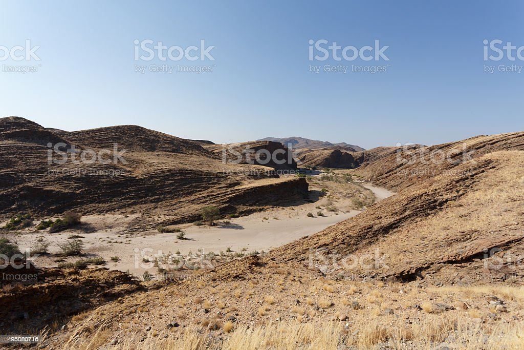 fantrastic Namibia moonscape landscape stock photo