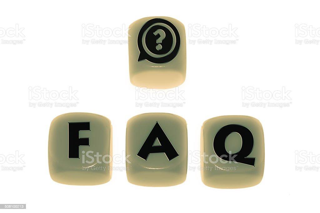 Faq symbol with word FAQ on cubes stock photo
