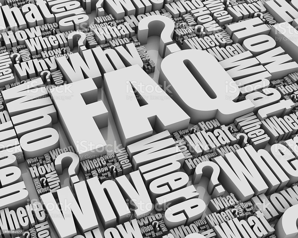 FAQ-related gray background text royalty-free stock photo