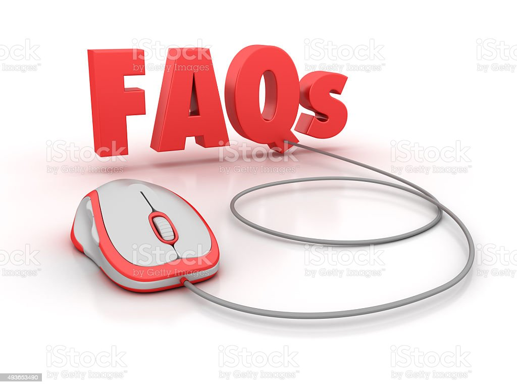 FAQs Word with Computer Mouse stock photo