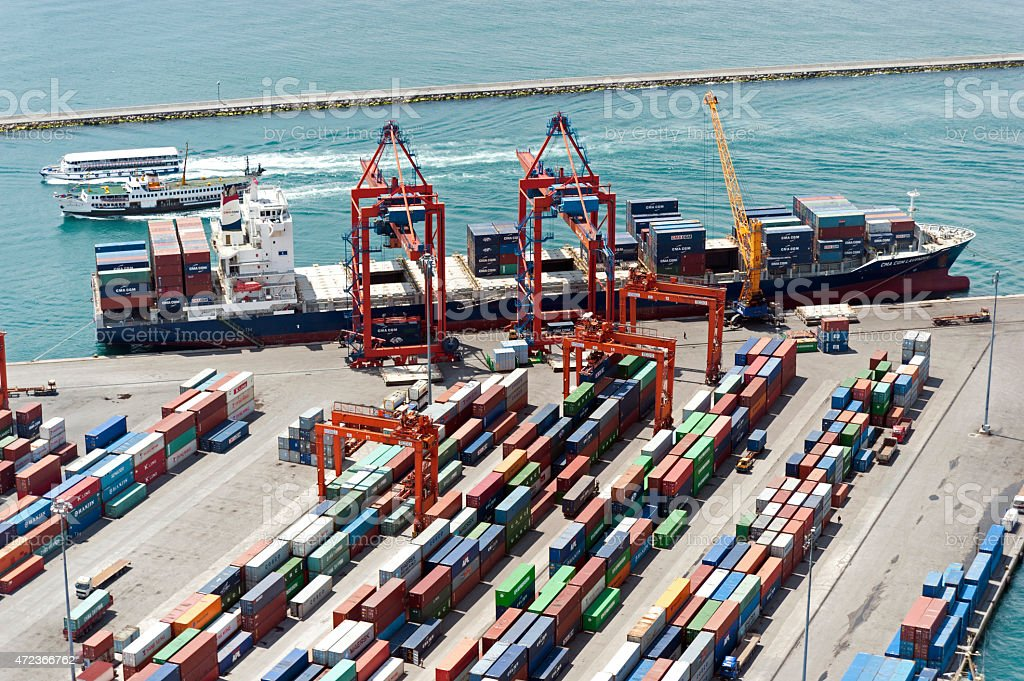 A far away picture of a container port stock photo