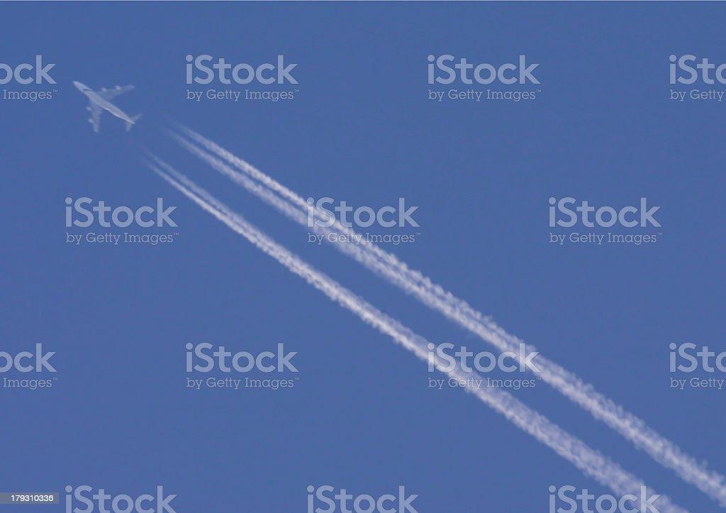 Far away plane stock photo