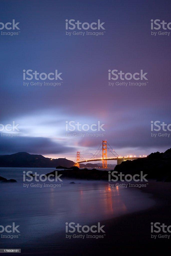 Far away view of Golden Gate Bridge at night royalty-free stock photo