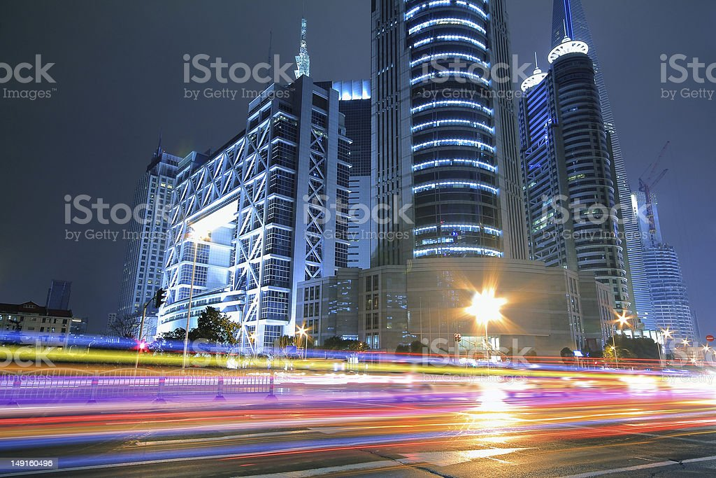 Far East Night view of Shanghai architecture background landscapes royalty-free stock photo