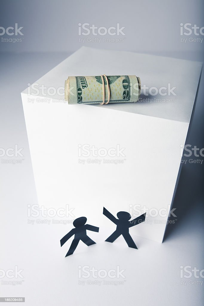 Far out of reach - money concept with paper people stock photo