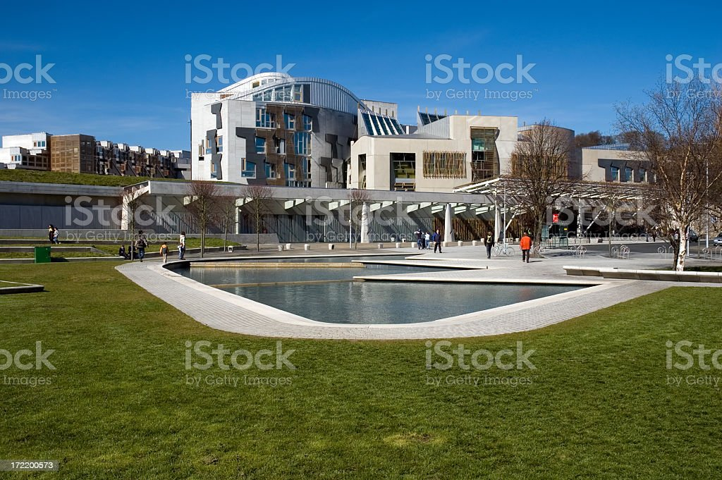 Far range photo of Scottish Parliament building on sunny day stock photo