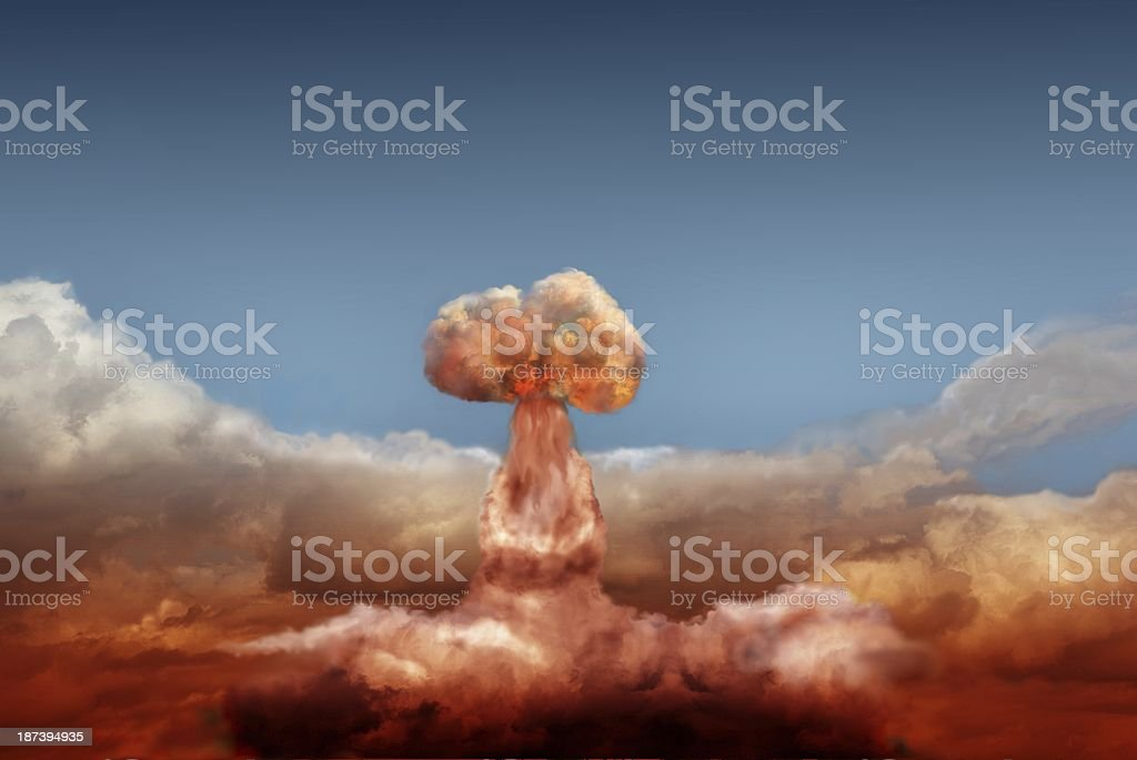 Far shot of mushroom cloud after atomic bomb stock photo