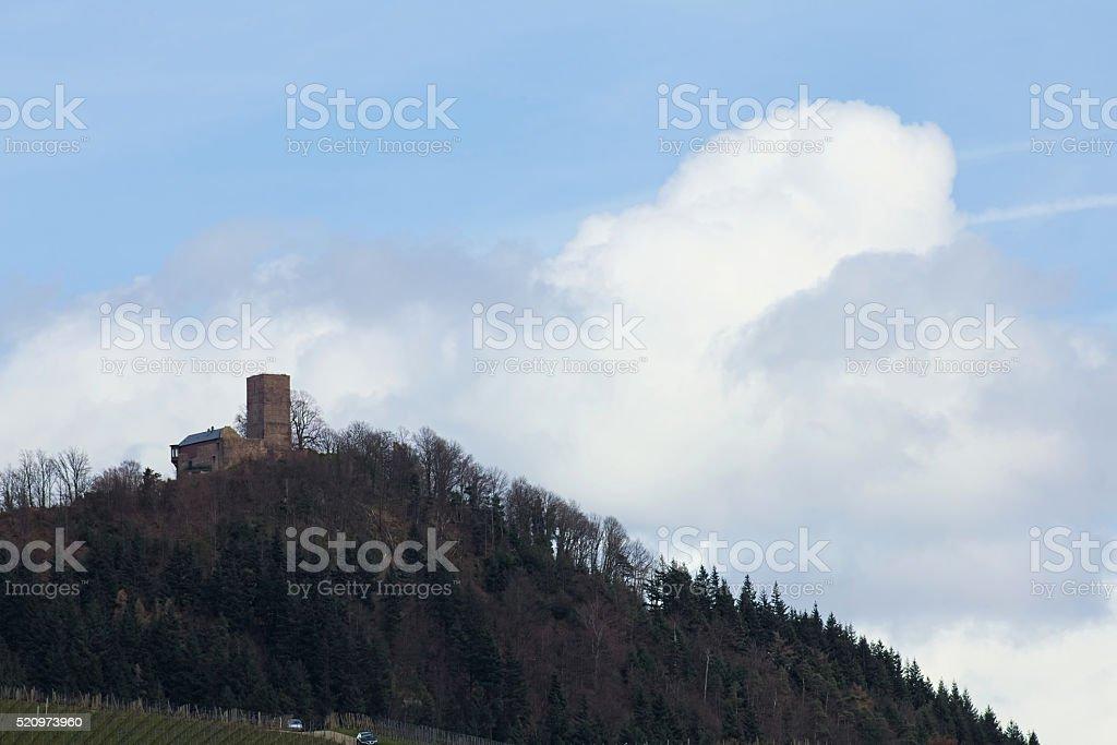 Far view on castle ruin Yburg near Baden-Baden, Baden-Wurttemberg, Germany stock photo