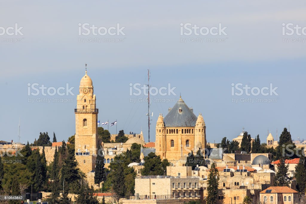 Far view to Dormitsion abbey in Jerusalem stock photo