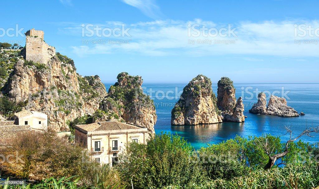 Faraglioni at Scopello, Sicily stock photo