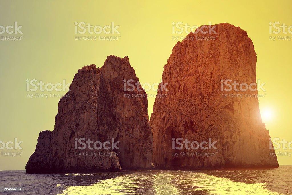 Faraglioni Cliffs in Capri - Italy stock photo