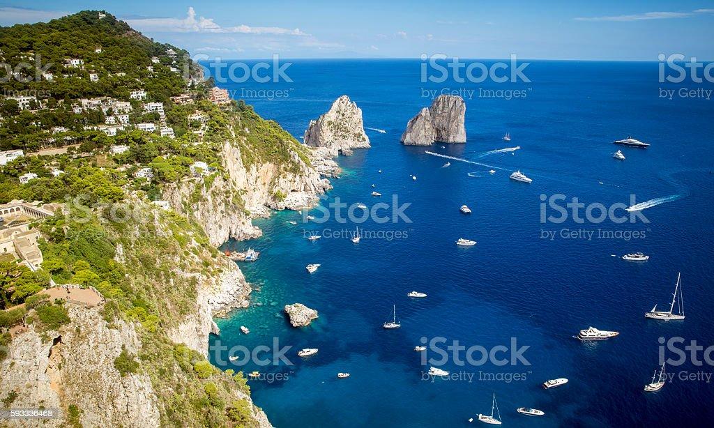Faraglioni rocks and Capri island, Italy stock photo