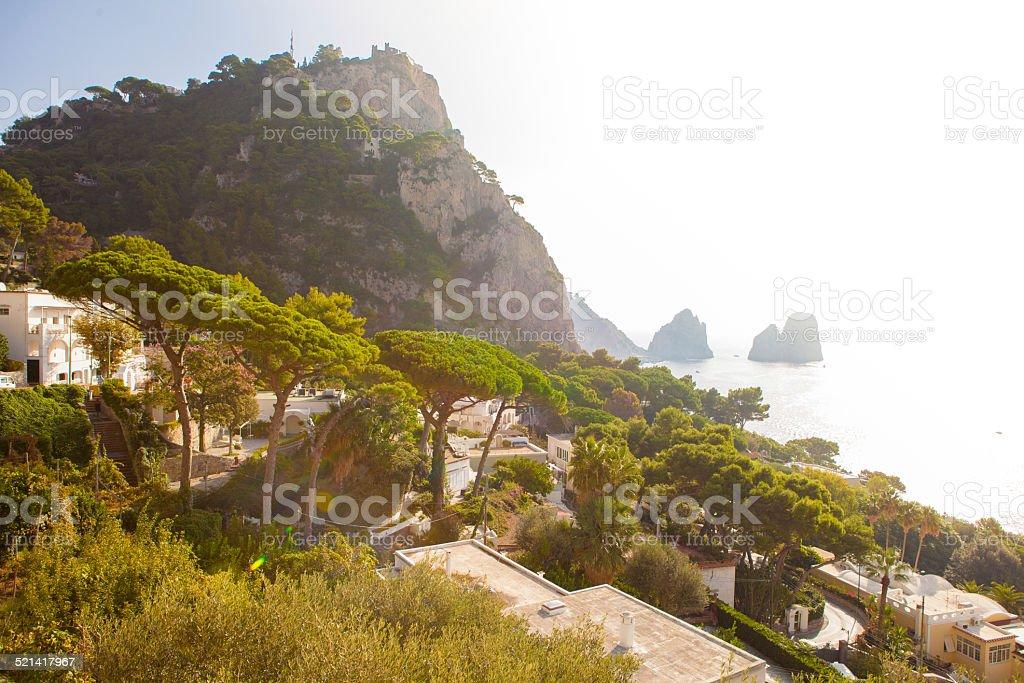 'Faraglioni' rocks , Capri island. stock photo