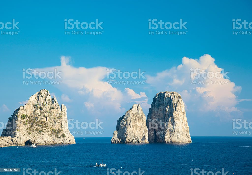 Faraglioni rocks, Capri Island (Italy, Bay of Naples) stock photo