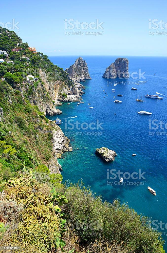Faraglioni rocks in Capri, Campania region of Italy. stock photo