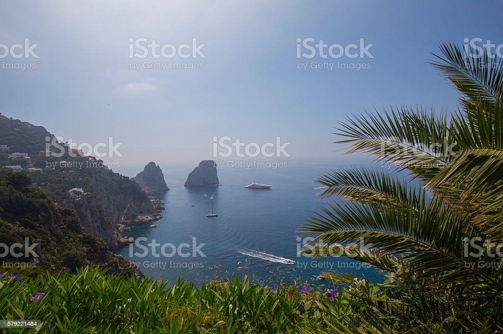 Faraglioni, View from Gardens of Augustus in Capri stock photo