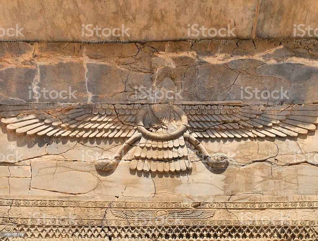 Faravahar, Persepolis, Iran stock photo