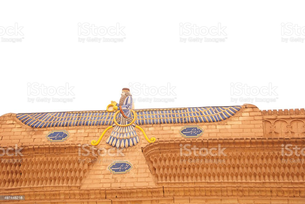 Faravahar, the Symbol of Zoroastrianism,  Fire Temple, Yazd, Iran stock photo