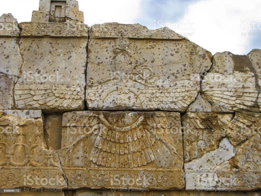 Faravahar, zoroastrian symbol Naqsh-e Rustam, Persepolis ruin Iran stock photo