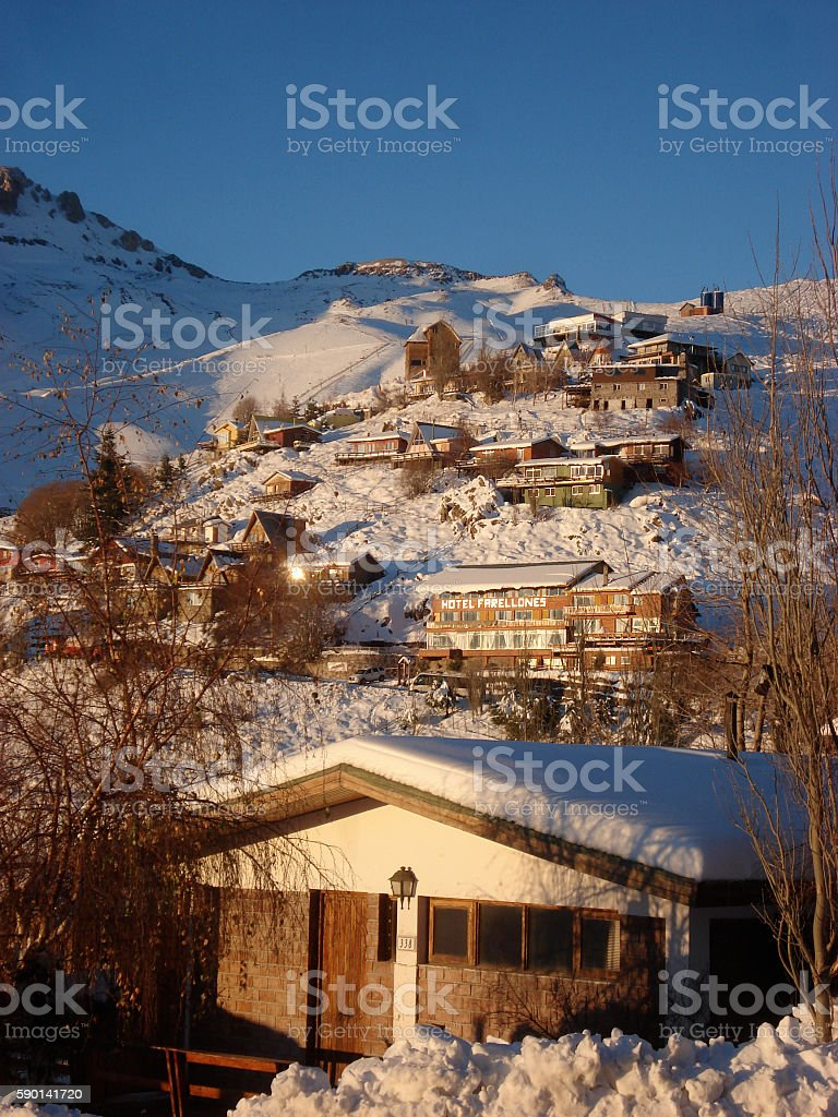 Farellones, Chile Sunset on the Snowy Andes Mountainside stock photo
