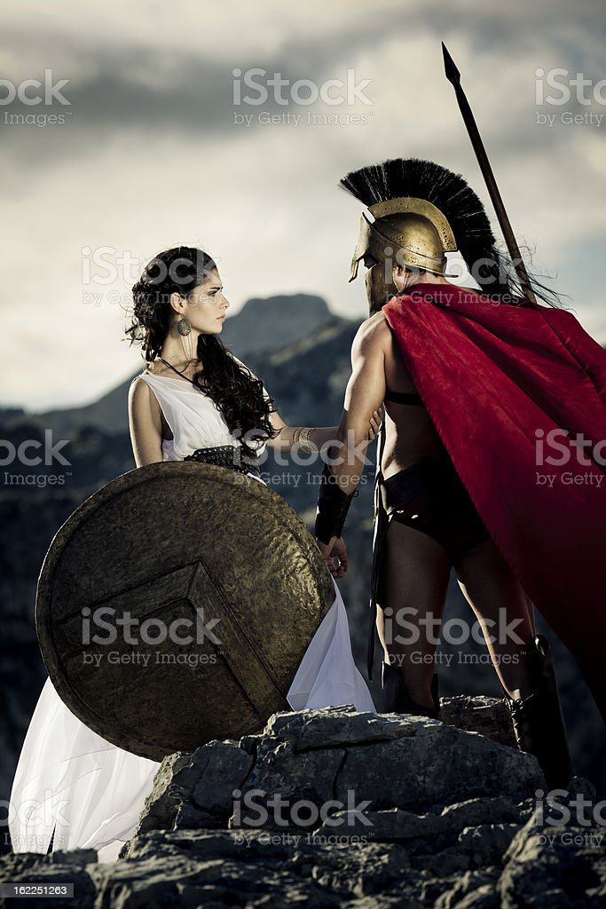 farewell between spartan couple stock photo