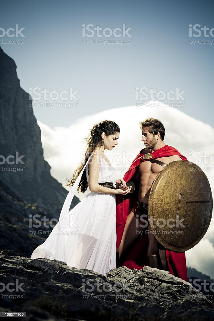 farewell between spartan queen and warrior royalty-free stock photo