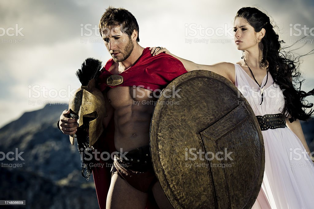 farewell between spartan warrior and his queen stock photo