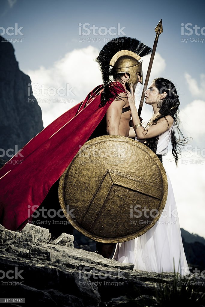 farewell between spartan warrior and queen stock photo
