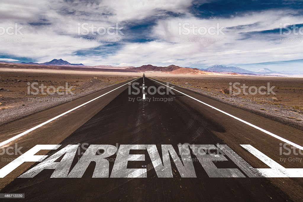 Farewell written on desert road stock photo