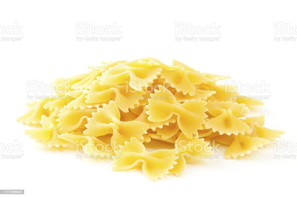 Farfalle pasta isolated on white background. royalty-free stock photo