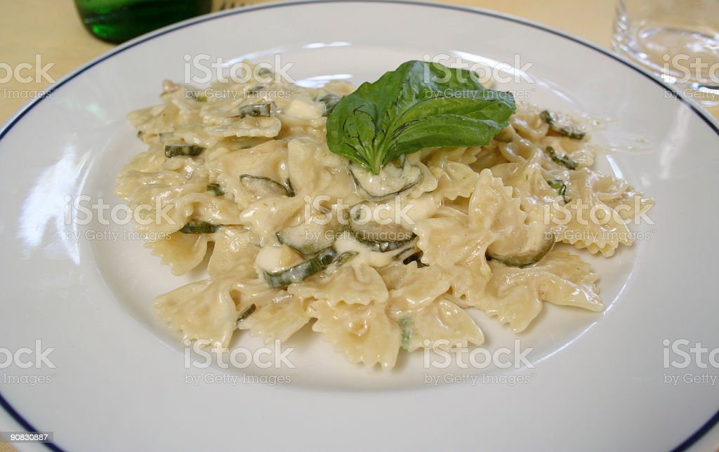 Farfalle with zucchini royalty-free stock photo