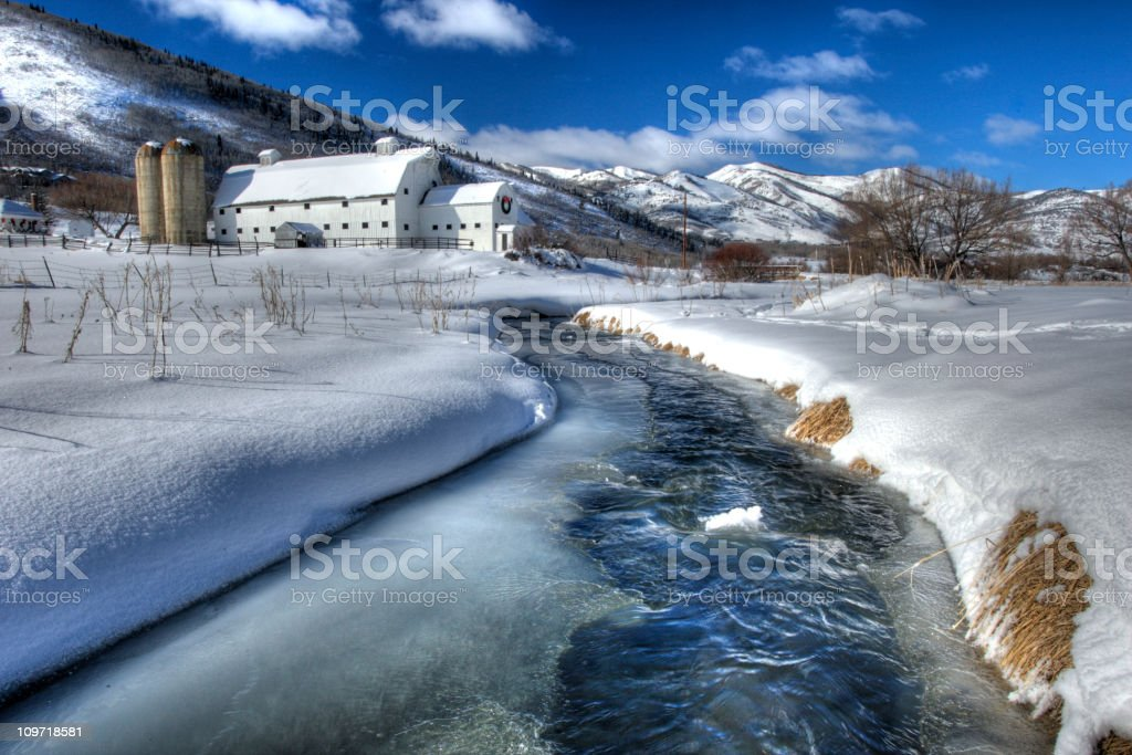 Farm after the snowstorm. stock photo