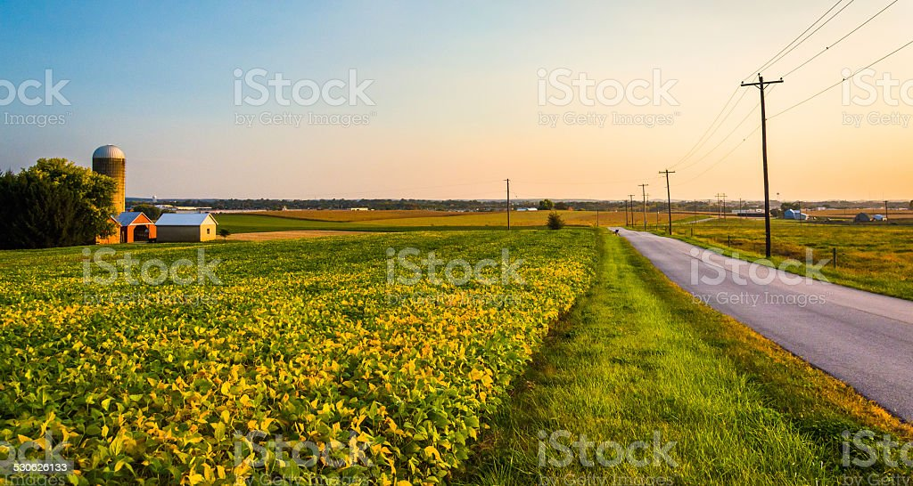 Farm along a country road in rural York County, Pennsylvania. stock photo