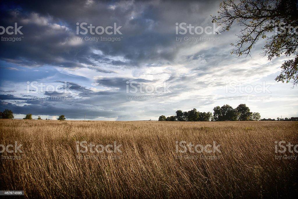 Farm and Dramatic Sky royalty-free stock photo